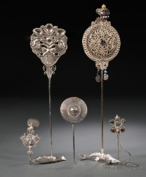 Five South American Silver and Silver-plate Topos or Cloak Pins