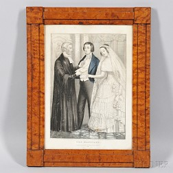"""Bird's-eye Maple Framed Lithograph """"The Marriage,"""""""