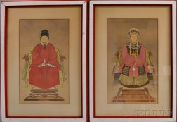 Pair of Chinese Gouache Ancestral Portraits