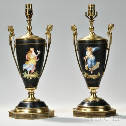 Pair of Empire-style Hand-painted Porcelain Vases