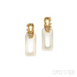 18kt Gold, Rock Crystal, and Diamond Day/Night Earpendants