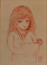 French School, 20th Century      Portrait of a Young Girl with a Doll