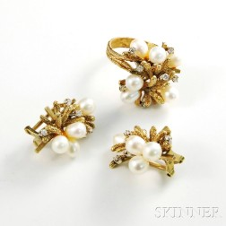 14kt Gold, Diamond, and Pearl Earrings and Ring