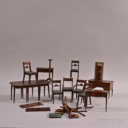 Group of Carved Mahogany Miniature Furniture