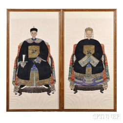 Pair of Ancestral Portraits of a Couple