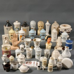 Large Group of Ceramic Pharmaceutical Jars and Bottles