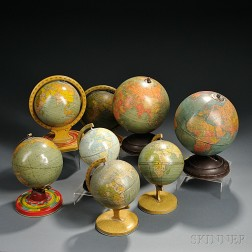 Six Tin Lithographed and Two Paper-wrapped Globes