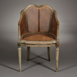 Louis XVI-style Caned and Painted Bergere