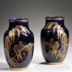Pair of Luneville Cobalt and Gilt-decorated Vases