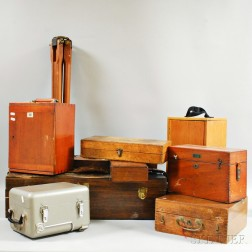 Nineteen Microscope, Telescope, and Surveying Instrument Boxes