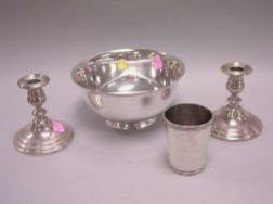 Reed & Barton Sterling Silver Revere Bowl, Frank W. Smith Sterling Beaker and a Pair of Gorham Sterling Candleholders.