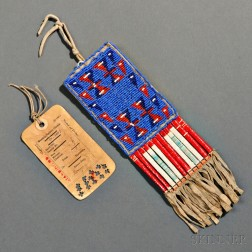 Lakota Beaded and Quilled Hide Ration Ticket Pouch and Ticket