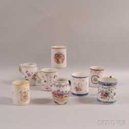 Eight Chinese Export Porcelain Floral-decorated Mugs