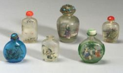 Six Interior Painted Glass Snuff Bottles