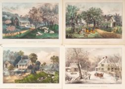 Currier & Ives, publishers (American  1857-1907)    Set of Four:  American Homestead.