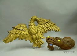 Carved Wooden Eagle Head and Banner Plaque and a Gold-painted Carved Wooden Eagle   Plaque