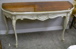 Louis XV Style Carved, Painted, and Veneered Lift-top Console Table.