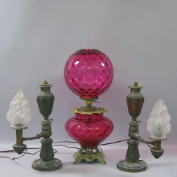 "Pair of Bronze J. & I. Cox Argand Lamps and a Ruby Glass ""Gone With the Wind"" Lamp"