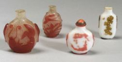 Four Cameo Glass Snuff Bottles