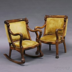 Carved Crooked-arm Rocker and Armchair
