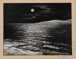 Woodblock Print Depicting a Moonlit Seascape