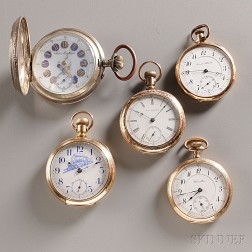 Five Pocket Watches of Varying Design and Manufacture