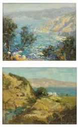 DeWitt Parshall (American, 1864-1956)      Two California Coastal Views: Cliffs and Ocean with Foreground Trees