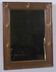 Carved Walnut Aesthetic Movement Hall Mirror