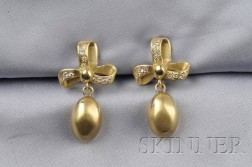 18kt Gold and Diamond Earpendants, M. Stowe