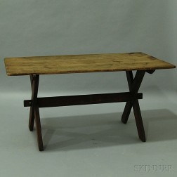 Red-painted Sawbuck Table