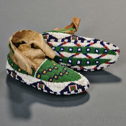 Lakota Fully Beaded Child's Moccasins