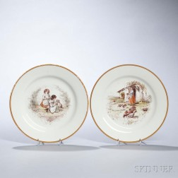 Two Wedgwood Émile Lessore Decorated Queen's Ware Plates