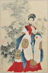 Painting Depicting a Lady with Peonies