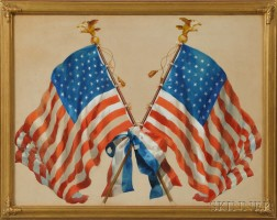 Watercolor on Paper of Two Crossed Forty-five-star Flags