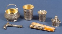 Six Russian Silver and Niello Pieces