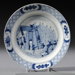 """Blue and White """"Rotterdam Riot"""" Decorated Porcelain Plate"""