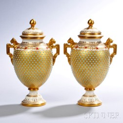 Pair of Jeweled Coalport Porcelain Vases and Covers