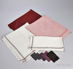 Four Shaker Textiles and Five Woolen Shaker Textile Swatches