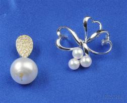 18kt White Gold and Cultured Pearl Brooch, Mikimoto