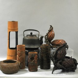 Seven Flower Containers and an Iron Kettle