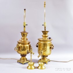 Two Brass Samovars Mounted as Lamps and a Pair of Brass Candlesticks