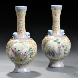 Pair of Famille Rose Yellow-ground Vases