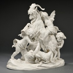 Large French Bisque Porcelain Figure Group