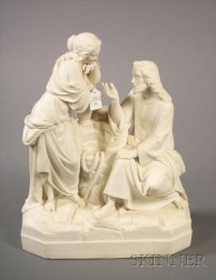 Parian Group Depicting Christ and the Woman of Samaria