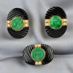 18kt Gold, Jade, Onyx, and Diamond Ring and Earclips
