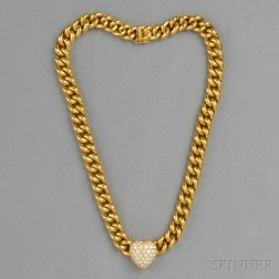 18kt Gold and Diamond Heart Necklace