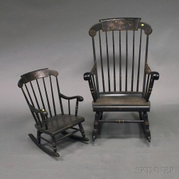 Two Black-painted Rockers