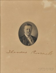 Roosevelt, Theodore (1858-1919) Engraved Portrait Signed.