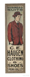 """Painted Tin """"BUSINESS SUITS"""" and """"C.E. HAUGEN CLOTHING & SHOES"""" Advertising Sign"""