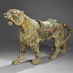 Carved and Painted Tiger Carousel Menagerie Figure